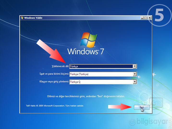 Windows 7 Resimli Anlatım -5-dilsecimi