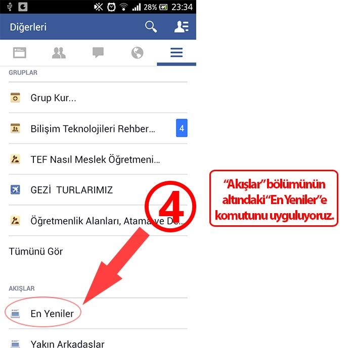 Facebook Android Uygulaması Haber Kaynağı Sıralaması
