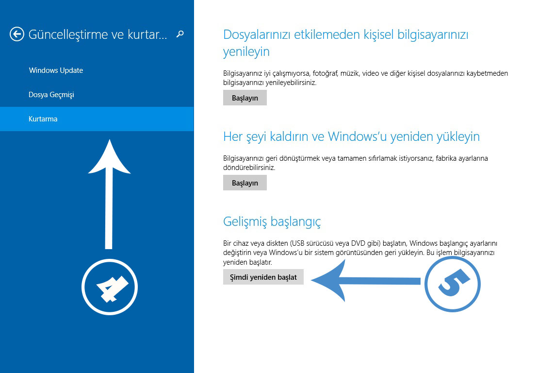 Güvenli Mod - Windows 8.1
